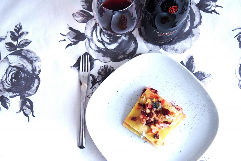 Lasagna Gluten Free con ragù di radici, barbabietola e pera madernassa e blu della Val Maira 3