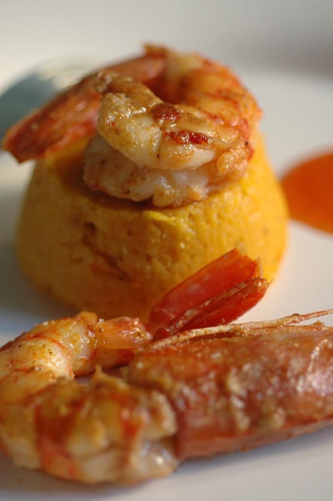 sformato du zucca gamberi brasati al curry