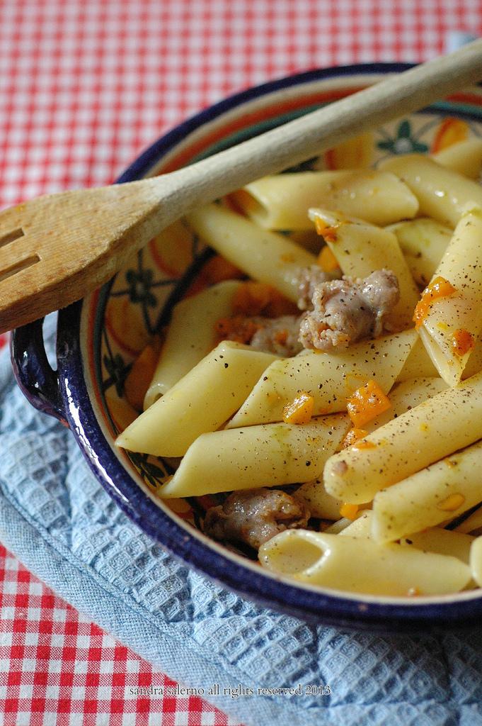 Penne lisce Matt Monograno Felicetti  salsiccia zucca e olio di semi di zucca