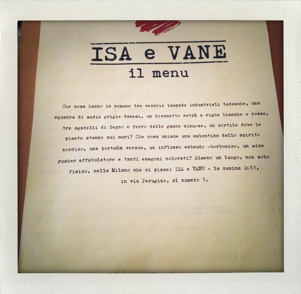 Isa e Vane: Il menù
