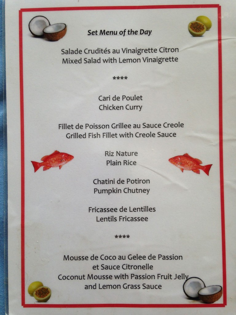 Menu Pirogue Lodge- Cote D'Or (Praslin Island)