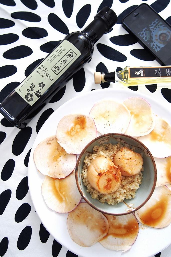 Capesante marinate con soia e olio armelline