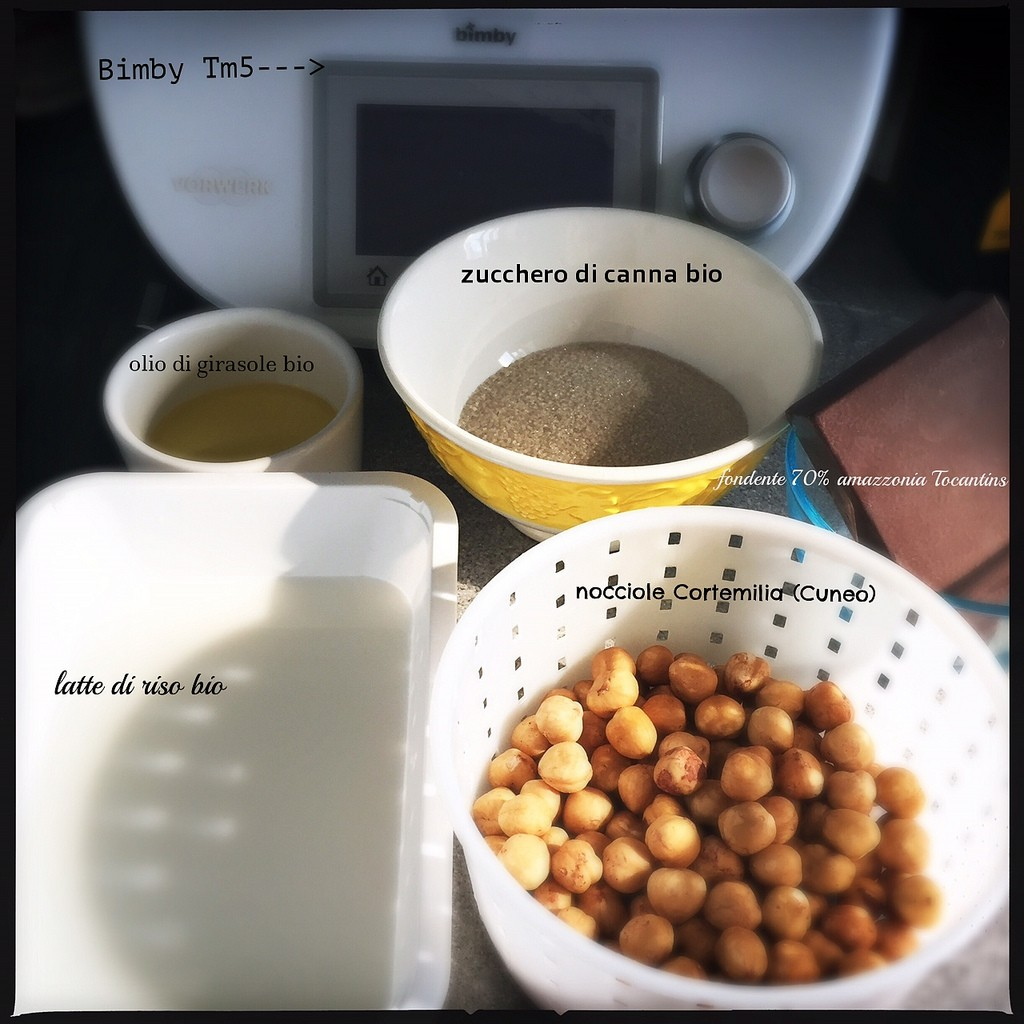 Ingredienti crema nocciole e cioccolato Bimby