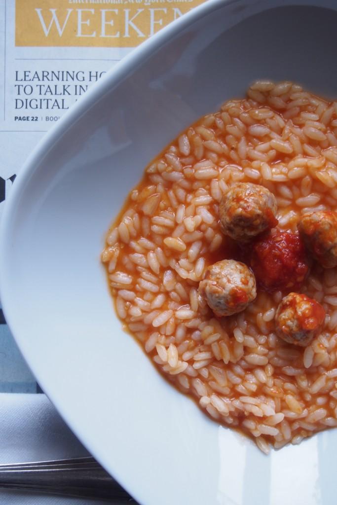 risotto con polpette di salsiccia speziate