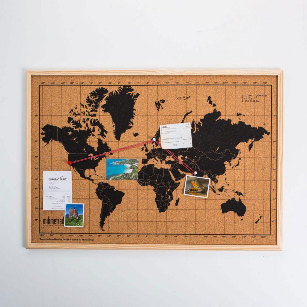 mappa del mondo di sughero